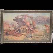 "Edward Macstay ""Under Attack"" Original Oil Painting c.1937"