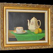 Still Life Oil Painting w/ Tea Pot & Lemon by Basuino