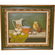 "Culinary Still Life Oil Painting ""Mixing Eggs"" by Basuino"