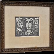 """Georges Rouault """"Les Visages"""" Plate Signed Lithograph c.1932"""