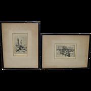 Pair of Vintage Etchings by Teague c.1930s
