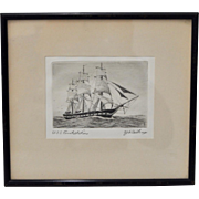 "U.S.S. Constellation ""Yankee Racehorse"" Etching c.1920s"