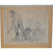 "WPA Era Sketch ""Railroad Workers"" by T.S. c.1930s"