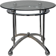 Chrome & Glass Top Side Table