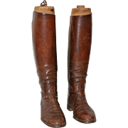 Pair of 19th Century Leather Equestrian Riding Boots w/ Stretchers c.1880s