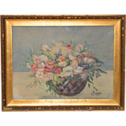 "Antique Watercolor ""Floral Basket Still Life"" by C. Ledeick c.1917"