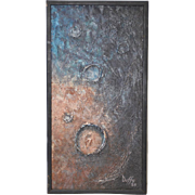 Mid Modern Planetary Craters Oil Painting c.1969