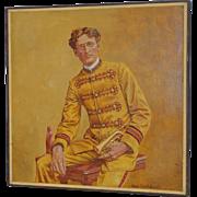"Bruce Robert Hasselle ""Golden Bugle"" Original Oil Painting c.1970s"