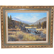 "Wilma Huston ""September Hunt"" Original Oil Painting c.1970s"