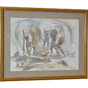 "Original Pen & Ink w/ Watercolor ""Planters Planting"""