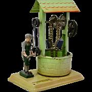 """Vintage Tin Toy """"Boy at Well"""" by Fleischmann c.1950"""