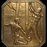 """Art Deco Bronze Medallion """"Municipalidad de Buenos Aires"""" by Carlos de la Carcova c.1927"""