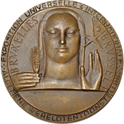 Brussels World's Fair Bronze Medallion by RAU c.1958