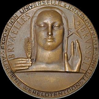 Brussels World's Fair Bronze Medallion c.1958