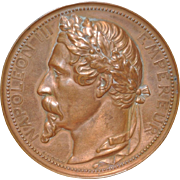 Napoleon III Universal Exposition Paris Bronze Medallion by Eugene Oudine c.1855