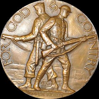 """For God & Country """"Semper Fidelis"""" Bronze Medallion c.1920s"""