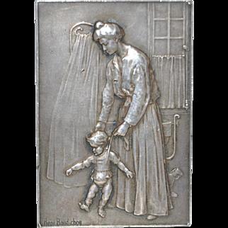 "Rene Baudichon ""Mother & Child"" Silver Plaque c.1904"