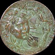 """Nature"" Sculptural Bronze Medallion by Sculptor Lohman c.1966"