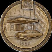 Hotel Association of New York City 75th Anniversary Commemorative Bronze Medallion c.1953