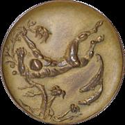 Diver Seascape Bronze Medallion by American Sculptor Frank Eliscu c.1964