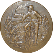 Antique Bronze Medallion w/ Bicycle & Train by A. Erdmann c.1900