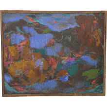"Marvelous Mid Modern Abstract Painting ""Sea Life II"" by Pauleric c.1964"
