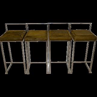 Set of Four Milo Baughman Chrome Bar Stools w/ Calf Skin Seats