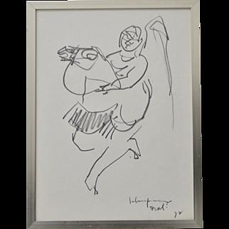 "John Young (Hawaii, 1909-1997) ""Bali"" Original Graphite Drawing c.1972"