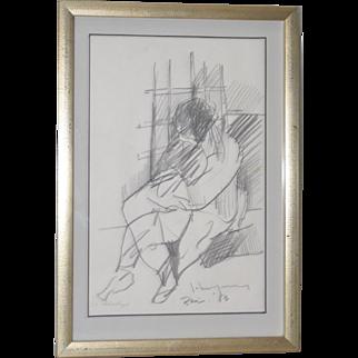 "John Young (Hawaii, 1909-1997) ""Paris"" Original Graphite Drawing c.1983"