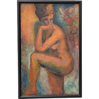 Vintage Figural Nude Oil Painting c.1970s