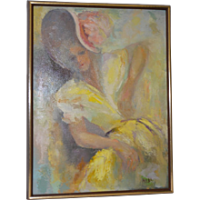"Vintage Oil Painting ""The Yellow Dress"" by Melba c.1960s"