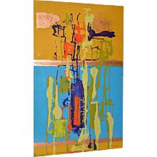 Modernist Abstract Enamel on Aluminum Painting