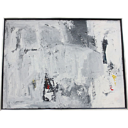 Vintage Black & White Abstract Oil Painting
