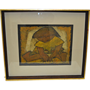 Rare Vintage Linocut by Angel Botello Barro