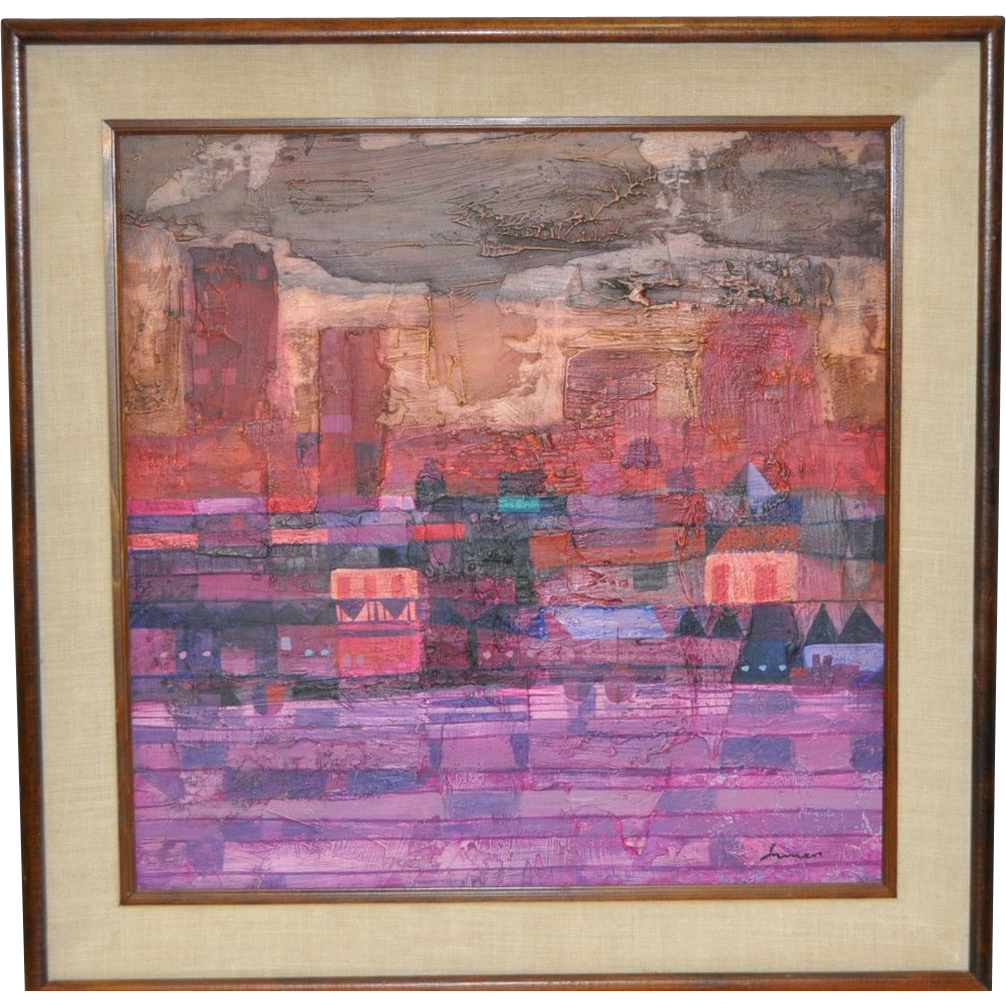 Robert Inman Abstract Painting c.1960 from antique-canvas ...