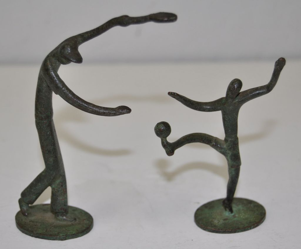 Pair of 1920 s art deco patinated bronze sport figures from antique