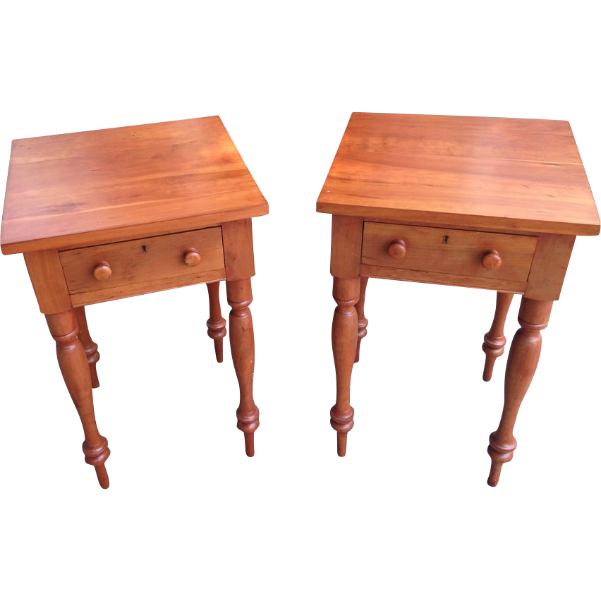 Pair vintage solid solid kentucky cherry side tables sold for Cherry side table