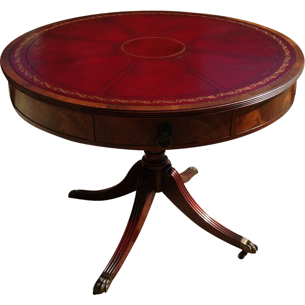Vintage 1950u0026#39;s Flame Mahogany Drum Table with Leather Top SOLD on Ruby Lane