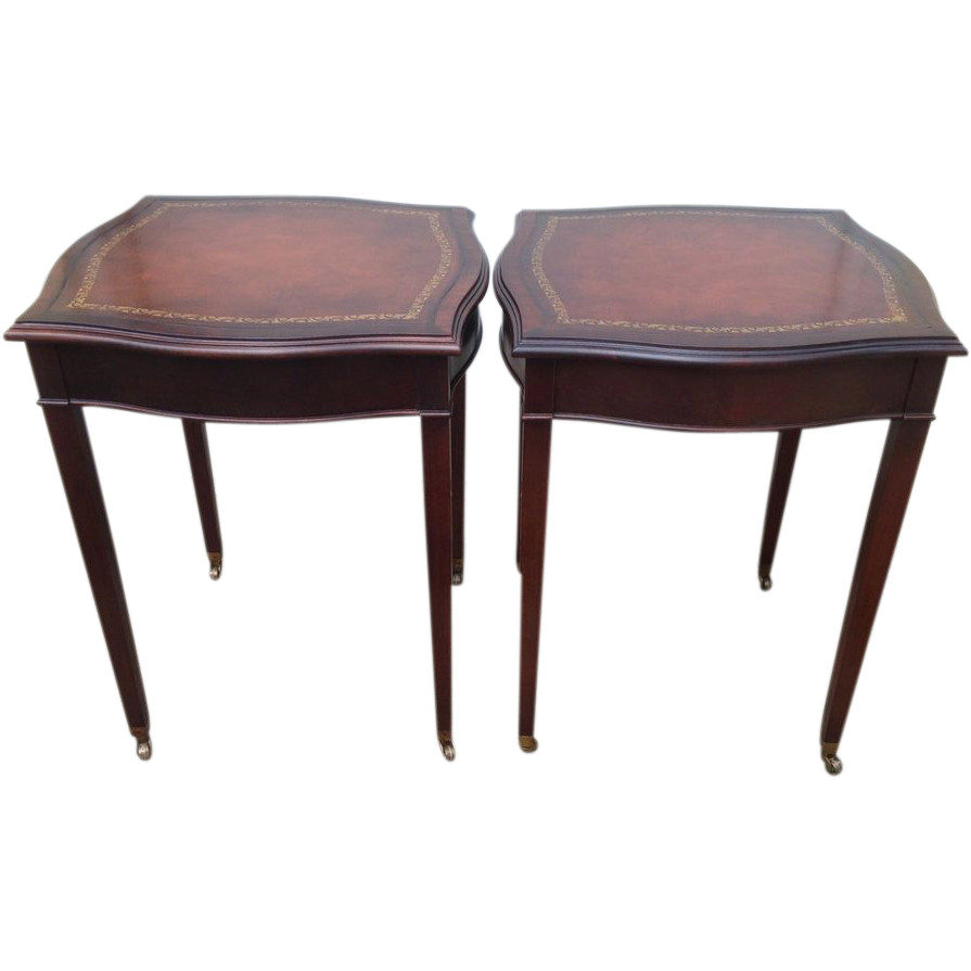 Awesome Matched Pair   Vintage 1940u0027s Solid Mahogany End Tables With Leather Top  Inserts