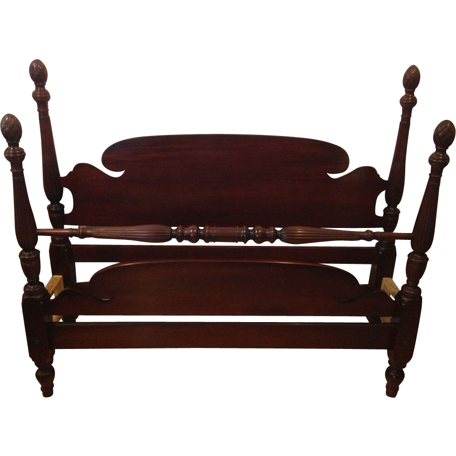 Vintage 1950 S Mahogany Full Size Acorn Poster Bed Sold On
