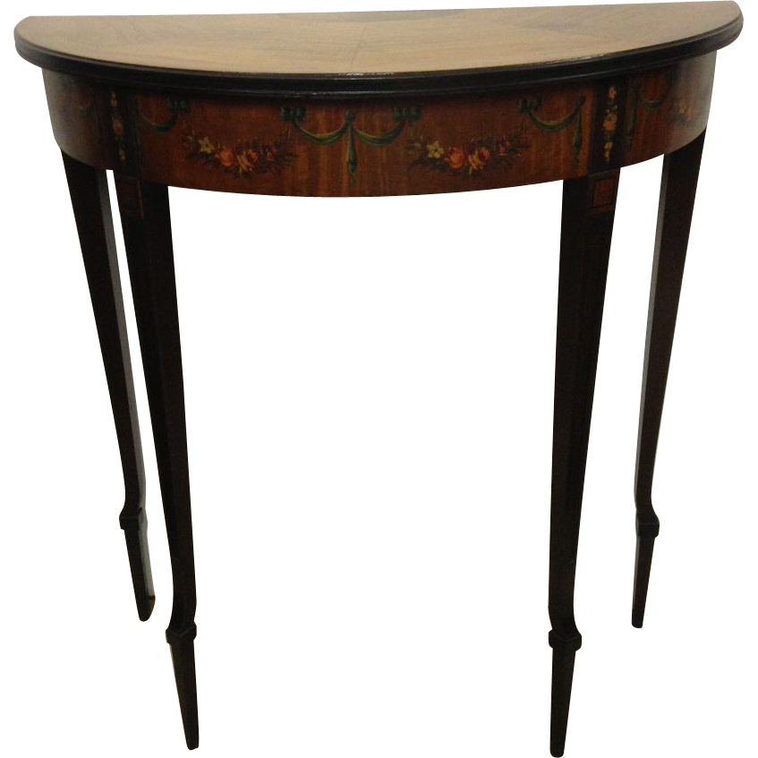 Vintage 1930s Solid Walnut Demi Lume Hall Table SOLD on Ruby Lane