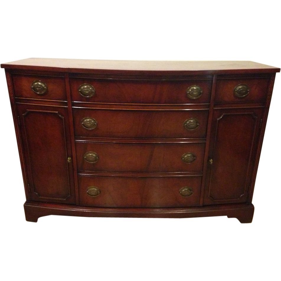 Vintage 1950 S Mahogany Bow Front Sideboard Sold On Ruby Lane