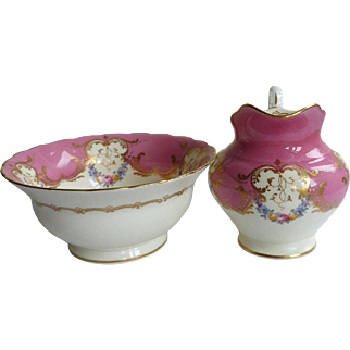 Beautiful Royal Worcester Gilded and Hand Decorated Porcelain Cream Jug and Bowl 1939