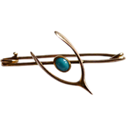 Pretty Victorian Gold and Turquoise Wishbone Pin Brooch
