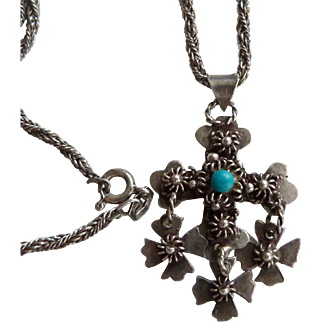 Vintage Sterling Silver Mexican Yalalag Cross and Sterling Silver Chain