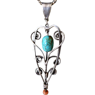 Vintage Native American Sterling Silver Pendant With Turquoise And Coral
