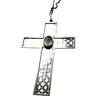Beautiful Vintage Sterling Silver Arts and Crafts Style Moonstone Cross With Sterling Chain