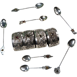 Vintage Indian Sterling Silver Napkin Rings And Spoons