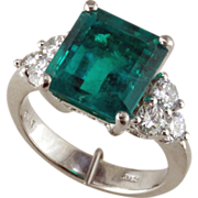 Colombian Emerald & Diamond Platinum Ring