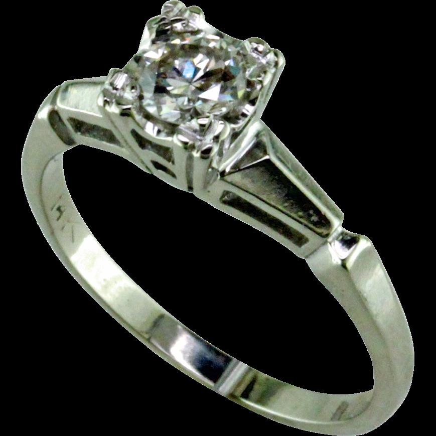 1940 s 3 8 ct Diamond 14 Karat White Gold Engagement Ring from mardonjewe